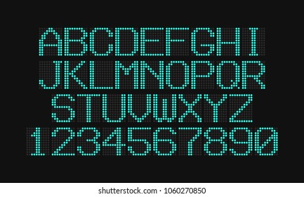LCD letters and numbers for a electronic devices. Digital glowing figures. Electronic scoreboard. Vector illustration.