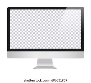LCD monitor imac style for computer with blank screen, isolated on white background. Monitor with transparent  monitor, screen. Computer screen - vector illustration