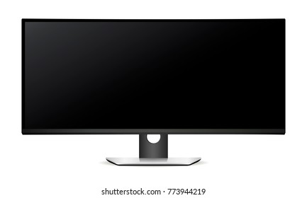 LCD monitor with wide screen isolated on white background. Vector illustration