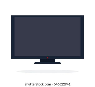 LCD panel in black color vector flat material design isolated on white
