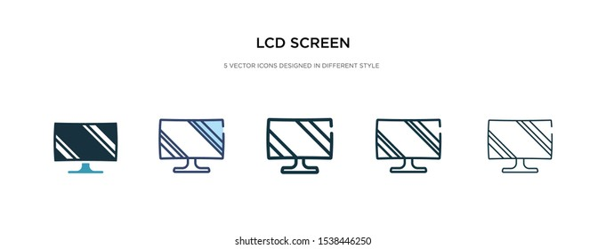 lcd screen icon in different style vector illustration. two colored and black lcd screen vector icons designed in filled, outline, line and stroke style can be used for web, mobile, ui