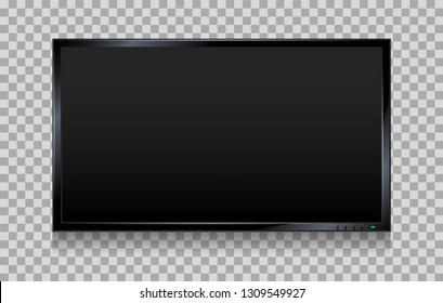 Lcd tv screen. Flat tv screen or television display vector illustration, wall plasma or led monitor panel