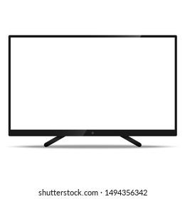 LCD TV Screen with resolution ultra HD 4k and 16:9 aspect ratio widescreen display with a blank screen realistic style icon for mockup isolated on white background. Vector illustration