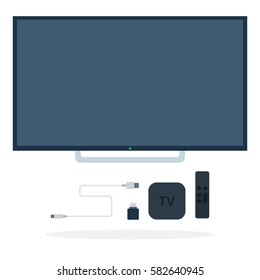 LCD TV with Set-top box, remote control, flash drive and USB cable vector flat material design isolated on white