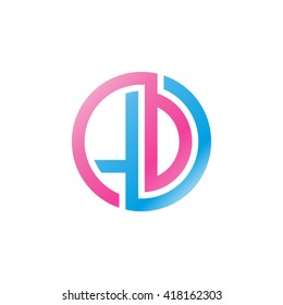 LD initial letters looping linked circle logo blue pink