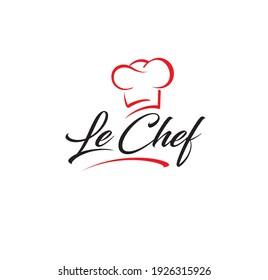 le chef - logo for restaurant cafe or food delivery service. Hat chef lattering