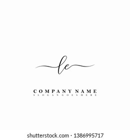 LE Initial luxury handwriting logo vector