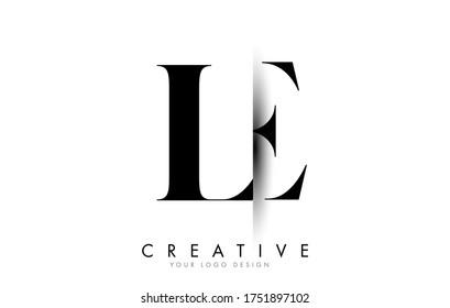 LE L E Letter Logo Design with Creative Shadow Cut Vector Illustration Design.