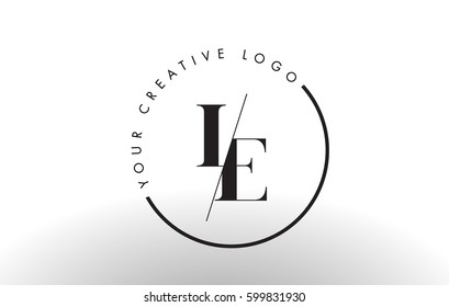 LE Letter Logo Design with Creative Intersected and Cutted Serif Font.