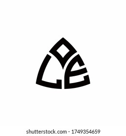 LE monogram logo with modern triangle style design template isolated on white background