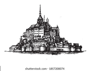 Le Mont-Saint-Michel castle on an island in France vector hand drawn black and white illustration