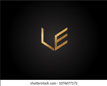 LE square shape Letter logo Design in silver gold color