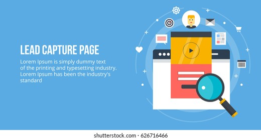 Lead capturing page, customer conversion, sales generation, lead generation form flat design vector banner with icons and texts isolated on blue background