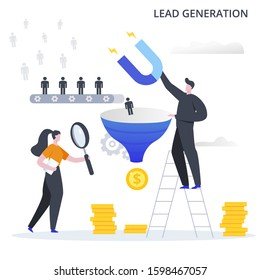 Lead Conversion vector illustration. Internet marketing conversion. The process of using bonuses, discounts, gifts to attract customers to the sales funnel and make a profit.
