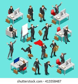 Lead Executive Businessman isolated business character group. Meeting finance management infographic sitting secretary desk man. Isometric People businesspeople. Leadership Vector Superhero manager