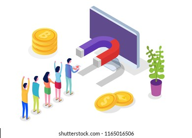 Lead Generate, Inbound Marketing Magnet isometric concept. Vector illustration