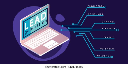 Lead generation concept banner in neon and purple colors. Vector illustration