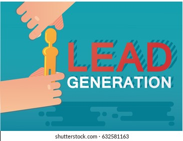Lead generation concept with golden customer. inbound marketing.  Vector illustration