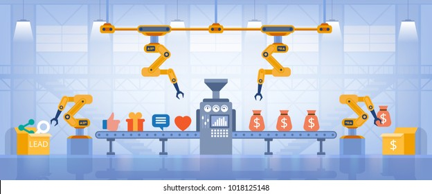 Lead generation concept. Marketing concept. Process of leads production on the conveyor belt. Vector flat style.