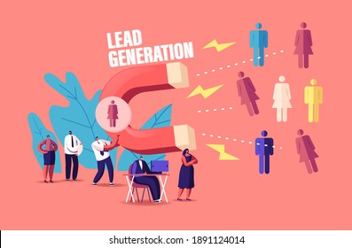 Lead Generation Concept. Tiny Businessman Character Attracting Clients with Huge Magnet Attracting New Leads and Generating Income with Inbound Marketing Technology. Cartoon People Vector Illustration