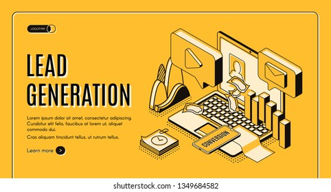 Lead generation Internet marketing strategy isometric projection vector web banner, landing page template. E-commerce sales performance research, online business conversion infographics illustration