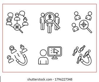 lead generation line icons set,customer acquisition, customer search, income,people,target audience analysis