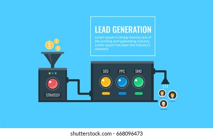 Lead Generation. Modern design of automated lead generation, sales automation technology flat vector banner