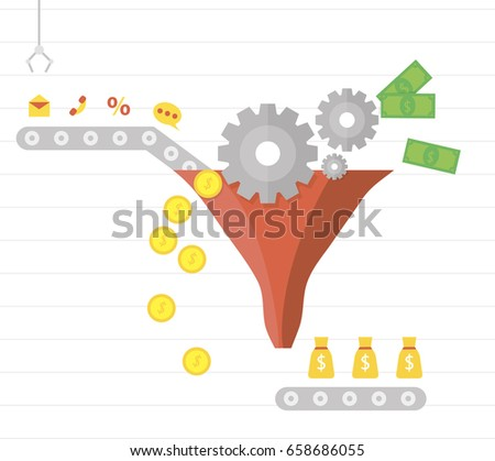 Lead generation. Process of leads production on the conveyor belt. Marketing. Business vector illustration in a flat slyle