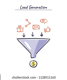 Lead generation vector concept. Process of leads production in sales funnel. Online marketing hand drawn illustration.