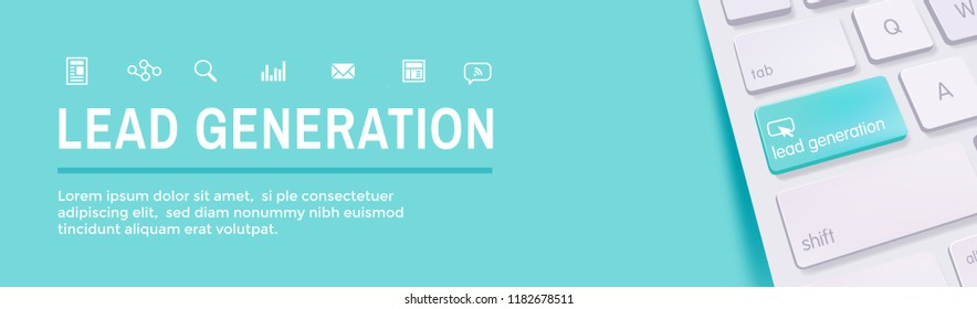 Lead Generation Web Header Banner that Attracts leads - target audience to increase revenue growth and sales