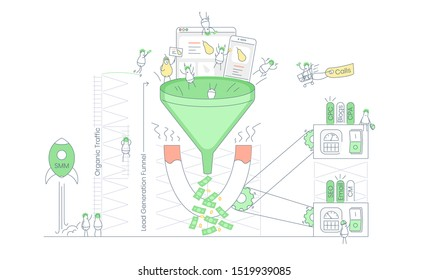 Lead magnet pulling people to the sales funnel, infographic process of e-commerce inbound lead generation, conversion user journey and converting customers in money. Flat thin line vector illustration