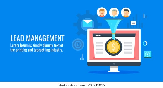 Lead management, generation, conversion optimization, customer flat vector concept with icons