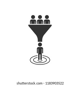 Lead management icon in flat style. Funnel with people vector illustration on white isolated background. Target client business concept.