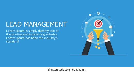 Lead management, sales funnel optimization, lead capturing flat design vector banner with icons and texts isolated on blue background
