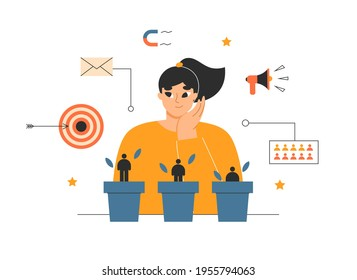 Lead nurturing, qualification, customer generation concept. Marketing manager growing new leads, customer base. Sales conversion, target audience, sales management. Isolated flat vector illustration