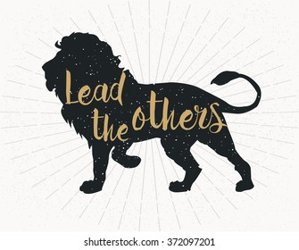 lead the others, dark grey lion Silhouette on grey background