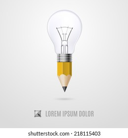 Lead pencil with light bulb on its top. Creativity and idea concept
