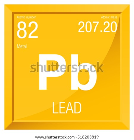 Lead Symbol Element Number 82 Periodic Stock Vector Royalty Free