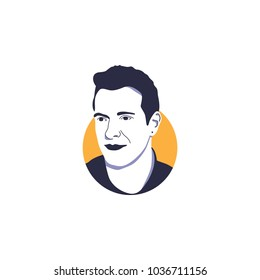 Lead vocal of band called Coldplay, Chris Martin in vector illustration isolated with simple circle orange background