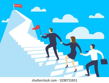Leader businessman help the team walking up stairway to the top of mountain, Leadership teamwork business concept growth and the path to success, Flat design vector illustration
