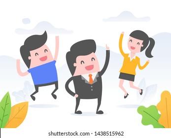 Leader energize his team. Business concept vector illustration.