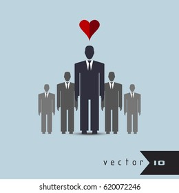 Leader heart among the people vector concept infographic