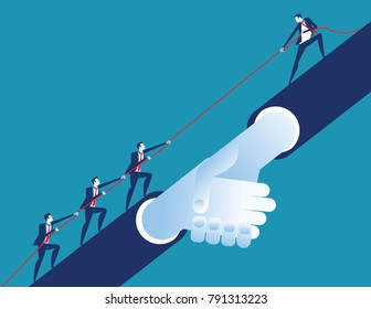 Leader helping business team. Concept business vector illustration. Flat desing style.