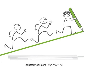 leader helps the team to climb the cliff and reach the goal. Leadership vector illustration concept