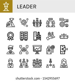 leader icon set. Collection of Trophy, Success, Grouping, Team, Meeting, Skills, Medal, Speaker, Supervisor, Crown, Manager, Skill, Staff, Headhunting, Businessman, Group icons