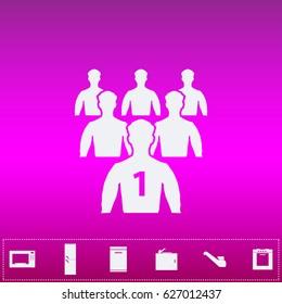 Leader Icon Vector. Flat simple white pictogram on purple background. Illustration symbol and bonus kitchen icons set