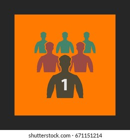 Leader Icon Vector. Flat simple pictogram on orange background. Illustration symbol color