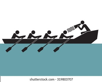 leader is loudly yelling to cheer up  rowing boat team
