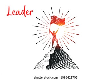 Leader. The man with the flag first climbed to the top of the mountain. Vector business concept illustration, hand drawn sketch.