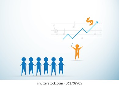leader with music note, leadership and business concept